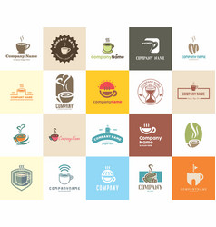 20 high quality coffee cafe tea shop logo pack vector