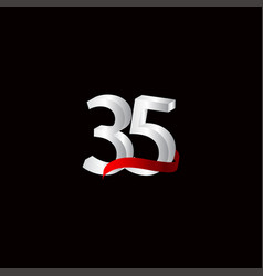 35 years anniversary celebration number black vector