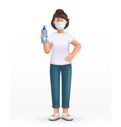 3d cartoon character young woman wearing mask vector
