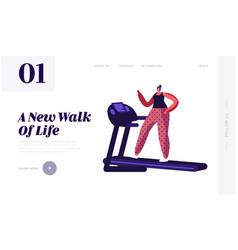 Active sport life website landing page woman vector