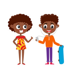 Afro american teenagers in cartoon style isolated vector
