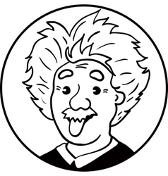 Albert Einstein portrait with tongue out vector image