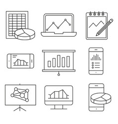 analysis statistics line icons vector image