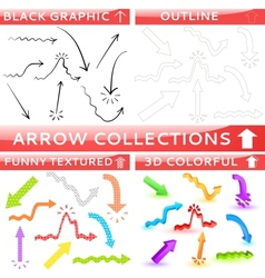 arrow collection four different set vector image