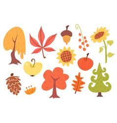 autumn cartoon set plants vector image