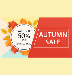 autumn sale banner design from leaves vector image