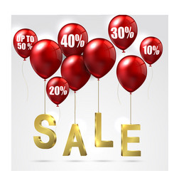 balloons and discounts sale on isolated background vector image