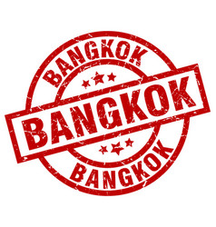 Bangkok red round grunge stamp vector