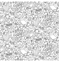 Beach doodle seamless pattern vector image