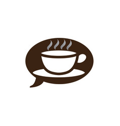 big hot cup cafe in a chat icon warm caffee vector image