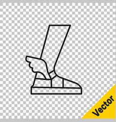 Black line hermes sandal icon isolated vector