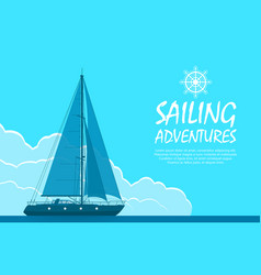 Blue sailing yacht vector