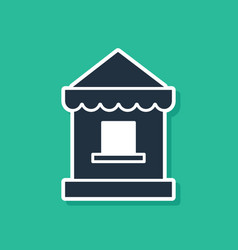Blue ticket box office icon isolated on green vector