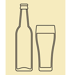 Bottle and glass of beer vector image vector image