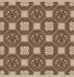 Brown floor tiles ornament pattern print vector