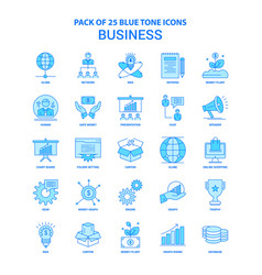 Business blue tone icon pack - 25 icon sets vector