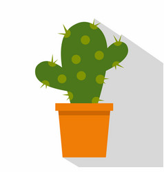 Cactus flower in pot icon flat style vector