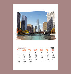 calendar sheet layout november month 2021 year vector image