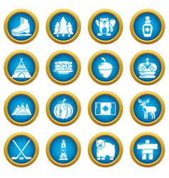 canada travel icons set simple style vector image