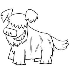 cartoon shaggy dog animal character coloring book vector image