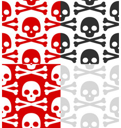 cartoon skull pattern set vector image