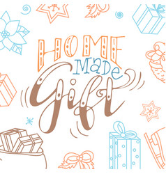christmas greeting card home made gift hand vector image