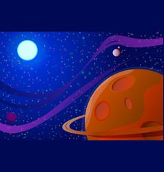 Cosmic landscape sun unknown planet stars vector