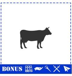 Cow icon flat vector