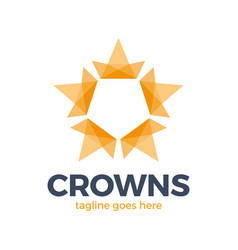 crown star logo design concept connected loop vector image
