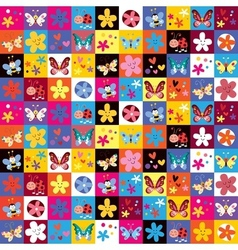 Cute butterflies beetles flowers pattern vector