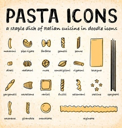doodle icons various pasta types vector image