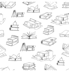 Doodle library book seamless pattern vector