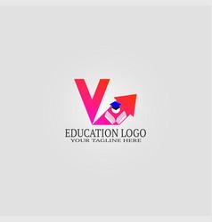 Education logo template with v letter logo vector