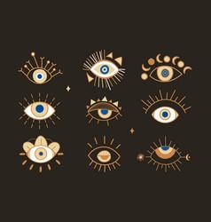 Evil eye abstract set vector