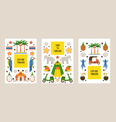 explore thailand set posters cards traditions vector image