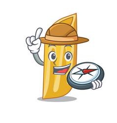 Explorer penne pasta character cartoon vector