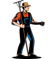Farmer holding a rake vector