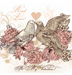 fashion valentine card with birds and roses vector image