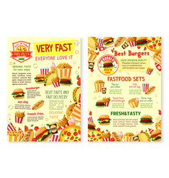 Fast food restaurant poster with menu template vector
