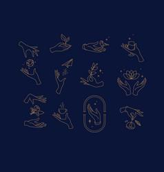 Flat hand symbols blue vector