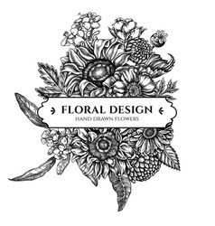floral bouquet design with black and white poppy vector image