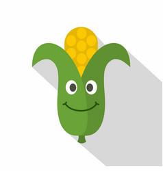 fresh smiling corncob icon flat style vector image
