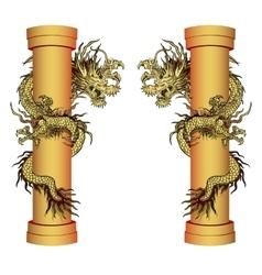 Gold dragon on a pole vector