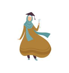Graduate muslim girl student modern arab woman vector