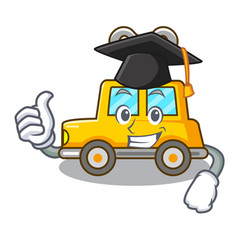 Graduation cartoon clockwork toy car in table vector
