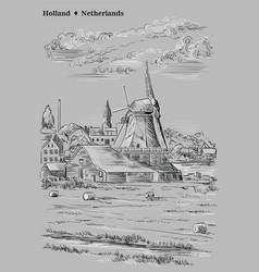 grey hand drawing holland 5 vector image