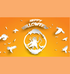 halloween background with witch broomstick and vector image