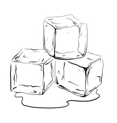 Hand drawn ice cubes vector