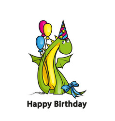 Happy birthday cute cartoon dragon wearing party vector