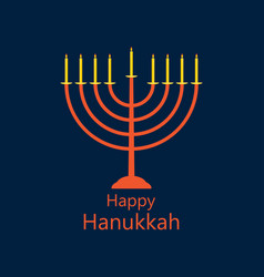 happy hanukkah hanukkah candles menorah with nine vector image